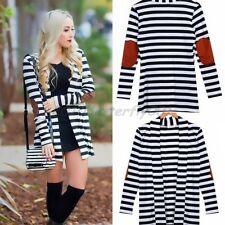 Fashion Women Long Sleeve Striped Cardigan Jumper Ladies Blazer Coat Jacket Tops
