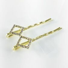 USA Bobby Pin Rhinestone Crystal Hair Clip Hairpin Jeweled Pretty Gold Clear B36