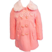 Fall Winter Clothes Girls Wool Coat Long Lace Wool Jacket Peachy Pink Netted