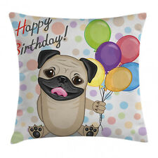 Colorful Throw Pillow Case Cute Birthday Pug Dog Square Cushion Cover 16 Inches