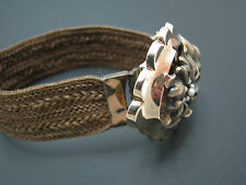 Vintage Mourning Bracelet made from Woven Hair with Gold Filled Flower Center