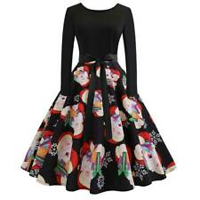 Womens Christmas Xmas Midi Dress Long Sleeve Party Skater Vintage Swing Dress