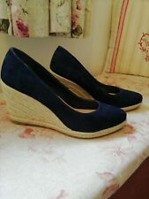 M&S navy suede wedge heeled shoes / espadrilles size 6