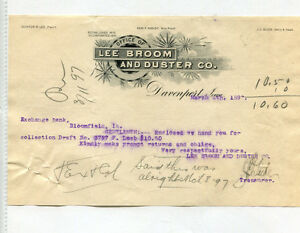 Vintage Illustrated Letterhead LEE BROOM & DUSTER Davenport IA 1897