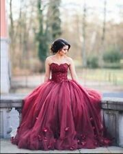 Burgundy Appliques Quinceanera Dress Sweet 16 Formal Evening Party Wedding Dress