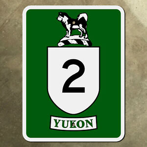 Yukon Territory highway 2 route marker road sign Canada 1960s husky dog Klondike