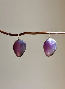 Rare OOAK Ted Muehling Amethyst Yellow Gold Earrings