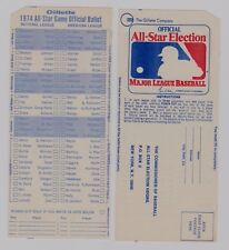(2) 1974  Major League Baseball  All Star Game Official Ballots-UNUSED