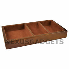 Valet Tray 3 Compartment BROWN Wood Wooden Wallet Coins Watch Phone Organizer