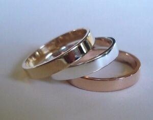 3.00 MM. 10 K. SOLID Gold TRADITIONAL FLAT BAND OR STACKING RING HANDMADE IN US