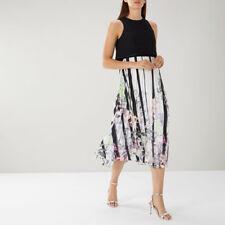 BNWT Coast Bailey Black Multi Pleated Cocktail Midi Tea Dress Size 18 Shorter