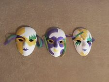 Set of 3 Decorative Ceramic Face Masks Painted Glitter 4.25'' by 3'' Multi-Color