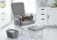 Obaby Reclining Glider Chair and Stool – White With Grey Cushion