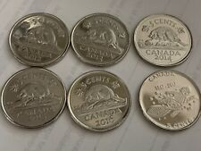 6 X Canadian Nickel 5 cents Coin Canada 2012, 2013, 2014, 2015, 2016 , 2017 UNC.