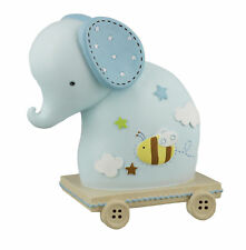 Petit Cheri Collection Resin Money Bank Baby Blue Elephant on Wheels CG1193