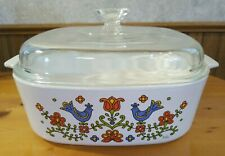 Corning Ware Country Festival 1975 Blue Birds & Flowers 4qt Casserole Bowl w/Lid