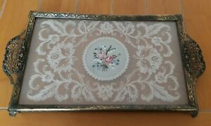 VINTAGE PETIT POINT LACE AND GLASS BRASS DRESSING TABLE TRAY WITH FILIGREE