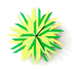 "Haystack fresh - 16"" organic yellow / green wall clock by ardeola"
