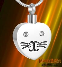 New Cat Heart Kitty Pet Crystal Cremation Urn Keepsake Ashes Memorial Necklace