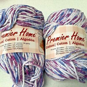 2 Skeins Premier Home Cotton Yarn Blueberry Speckle Same Lot # 2.1 Oz Each Unuse