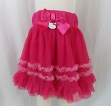 Hello Kitty Sanrio Girls Sz 5 Hot Pink Layered Tulle Skirt Satin Bow SUPER CUTE!