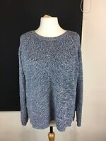 F&F Size 20 Blue White Chunky Knit Long Sleeve Jumper