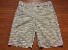 Talbots Womens Size 12  Fleur De Lis Brown Print Long Shorts
