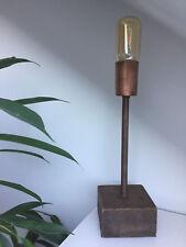 Tischlampe Holz/Kupfer NEU Vintage Shabby Chic Natur Industrial Massiv