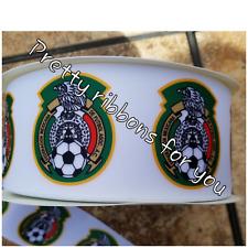 """El Tri Mexico Soccer Team 3"""" wide grosgrain ribbon 2 yards listing"""