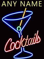Personalised Neon Print Cocktail Retro Metal Sign Bar Pub Club Man Cave
