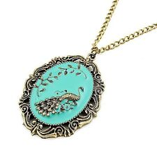 Vintage Style Turquoise Green Bronze Peacock Pendant Charming Necklace N510