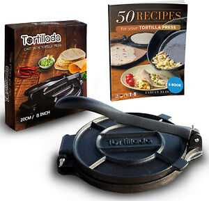 Tortilla Press Cast Iron / Roti Press / Chapati Maker + Recipes 8 / 10 inch
