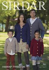 Sirdar 7831 Knitting Pattern Family Cardigans in Sirdar Harrap Tweed DK