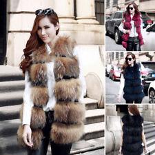 Les femmes en fourrure synthétique Long Brown O-cou gilet sans manches chaud manteau veste taille L/XL