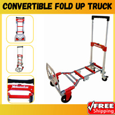 Milwaukee Folding Hand Truck Dolly Cart 300 Lb Capacity Convertible Fold Up