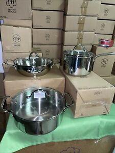 Princess House Classic Stainless Steel 6Pc Cookwear Set NIB 2,3 & 4QT #6393,6462