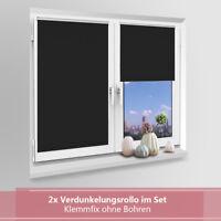 2x Verdunkelungsrollo klemmfix Thermo ohne Bohren Fenster Kinderzimmer schwarz