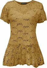 Womens Top Lace Flared Sleeve Tunic Size Frill Short Peplum Plus Pattern Floral Gold UK 26/28