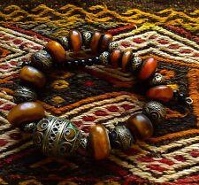 Vintage African Berber handmade enamel Amber Green Egg talisman necklace jewelry