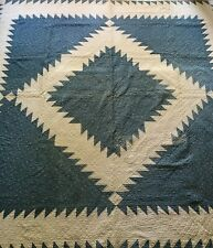 Antique BIg Bold Cadet Blue Saw Tooth Hand Pieced & Quilted Full Quilt