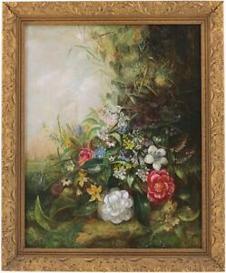 Still Life with Flowers Antique Oil Painting 19th Century English School