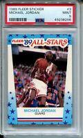 1989 Fleer Basketball Sticker #3 Michael Jordan Bulls Card PSA Graded MINT 9