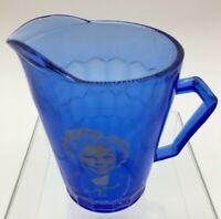 Vintage Shirley Temple Hazel Atlas Co Cobalt Blue Glass Pitcher Creamer 1930s D2