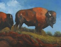 """SALE! Original Indian Western Art Buffalo Bison Oil Painting on Canvas 30"""" X 40"""""""