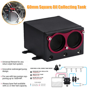 60mm Fuel Pump Dual Port External Square Oil Collecting Tank Racing AN8 Fitting