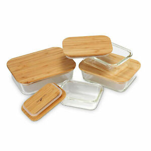 Glass Food Storage Containers Bamboo Lid Airtight Meal Prep Lunch Box Reusable