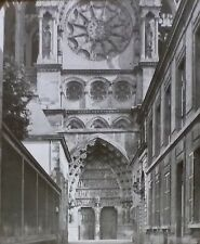 Central Portal, Notre-Dame de Reims Cathedral, France, Magic Lantern Glass Slide
