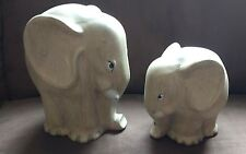SET OF TWO CERAMIC ELEPHANTS OF DIFFERENT SIZES