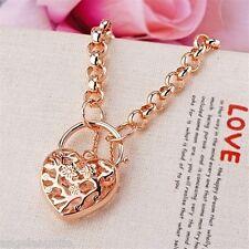 18K Rose Gold Filled Filigree Heart Padlock Belcher Necklace (N-179)