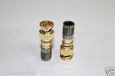 10pcsx Bnc Male Gold Compression Coax Connectors Rg59